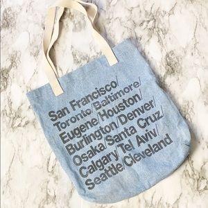 American Apparel Denim Destination Tote Bag OS